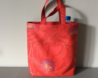 Red tote bag.