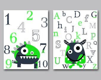 Digital Alphabet Nursery Art for Children Monster Nursery Printable Digital Print Baby Boy Nursery Art set of 2 8x10 11X14 INSTANT DOWNLOAD