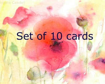 Set of Cards, Multipack, Watercolour greetings cards, Set of Spring cards, Set of Summer Floral Cards, Easter Cards