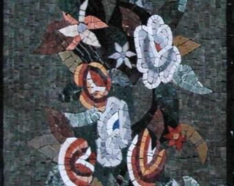 Floral Arrangement Marble Mosaic Art
