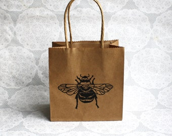 Bumble bee gift bag   Honey bee   one small kraft paper bag   Insects   Birthdays   Parties   Lino print  