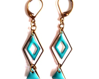 Earrings graphic sequins enamel - designer jewelry