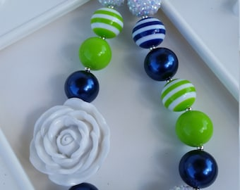 Child Size Seahawks inspired Rose necklace, Seahawks jewelry, Seahawks chunky jewelry