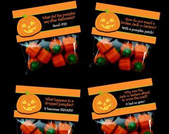 INSTANT DOWNLOAD - Printable Halloween Joke Treat Bag Toppers
