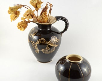Vintage Sgraffito Vase, Spiral & Fish Scraffito Ceramics, Mid Century East German Pottery Vases, Dark Brown Glazed Vases, Handmade Pitcher