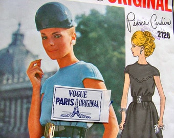 VOGUE Paris Original  Pattern 2128 -  Pierre Cardin Designer Bias Tent Dress for Evening -  Size 12 * Bust 34 * UNCUT