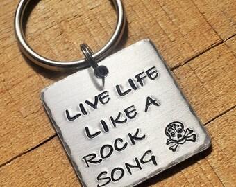 Rock Song - Rock Keychain - Rocker Gift - Gift for Rocker - Rock Star Key Ring - Music Key Chain - Musician Key Ring - Rocker Keyring
