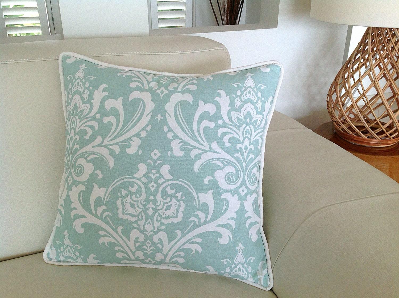 Damask Duck Egg Blue Designer Cushions Robin Egg Blue Linen