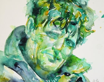 JACK LONDON - original watercolor portrait - one of a kind painting!
