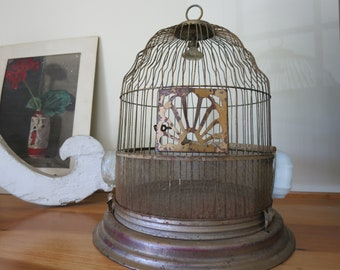 Antique Wire Birdcage for Wedding or Decoration -  Hendryx Brass Colored Cage with Rustic Finish Glass Birdfeeders Included