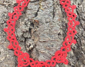 Neck lace tatting cotton red tatted lace red