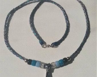 Thor's Hammer Blue Viking Knit Necklace