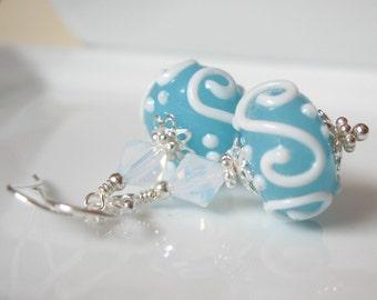 Blue Hawaii  Lampwork earrings in sterling silver