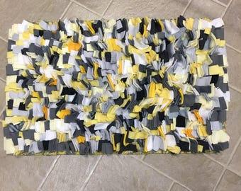 Yellow and Gray Chunky Shag Rectangular Rug