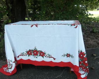 Vintage Christmas Tablecloth 60x84 Holiday Table Decor Christmas Decorations French Country Farmhouse Cottage Chic Prairie Table Cover