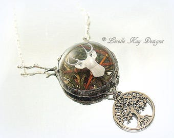Woodland Deer Necklace Soldered Resin Dome Buck Nature Theme Bubble 3D Cast Resin Lorelie Kay Original