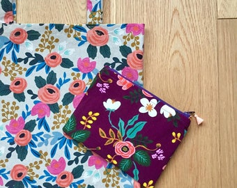 Birch in Eggplant and Rosa Floral Les Fleurs and Menagerie Collection Canvas Tote Bag and Small Purse Combo - Rifle Paper Co. (Free UK P&P)