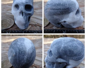 "2.06"" 3.5oz 97.9g Unknown Stone Type Skull Realistic Crystal Healing Hand Carved Handmade Magical Magick Reiki Wicca SK2566"