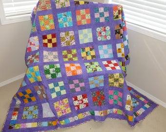 Purple Nine Square Quilt