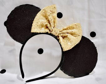 Reversible Black and Gold Glitter Mouse Ears with Gold Sequin Bow.