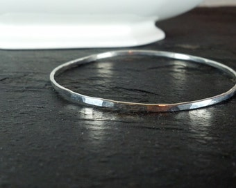 Hammered Bangle Bracelet in Sterling Silver