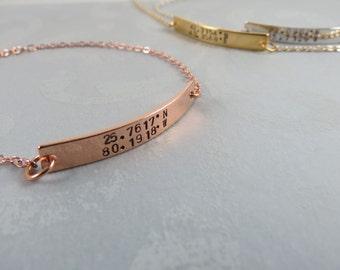 Coordinates Bar Bracelet Gift for Her Custom Coordinates Jewelry Hand Stamped Bar Bracelet Friendship Bracelet Bridesmaids Gift
