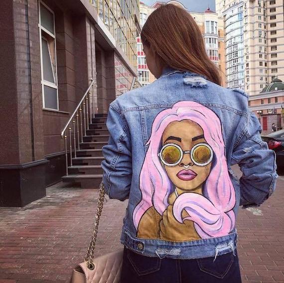 Hand Painted Denim Jacket Denim Jacket With Art Gift Custom