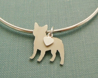 French Bulldog Dog Bangle Bracelet, Sterling Silver Personalize Pendant, Breed Silhouette Charm, Rescue Shelter, Mothers Day Gift