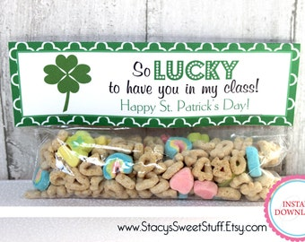 St. Patricks Day, St. Patrick's Day Printable Treat Bag Topper, So Lucky, INSTANT DOWNLOAD