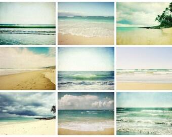 50% off - Beach Photography Set, Summer Wall Art, Nine Photographs, Ocean Waves Art, Beach Cottage Decor