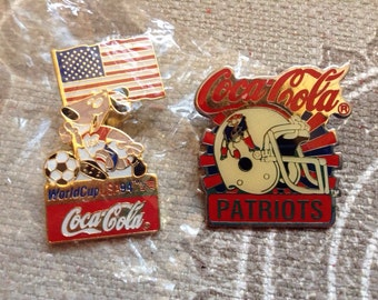 2 Coca Cola pins, patriots pin, American World Cup pin, vintage pin, football patriots, soccer pin.