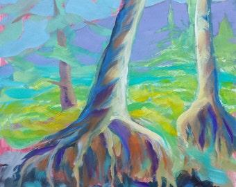 Sandy River 2 original plein air abstract landscape oil painting