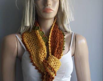 SUNNY GARDEN  - Crochet Scarf / Cotton Scarf / Crochet Bandana / MultiColor Scarf / Crochet Scarflette / Flowers / Crochet Neckwarmer