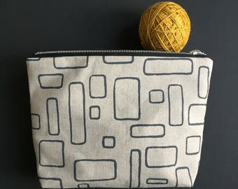 stone grey windows design, hand printed large project pouch
