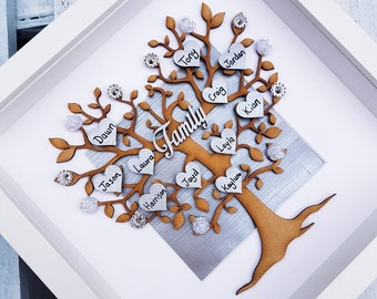 Family tree Frame | Family picture Gift | Grey home decor family decor | personalised hearts | Parent gift | Grandparent, mothers day Gift