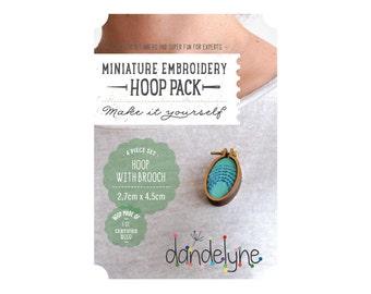 27mm x 45mm OVAL miniature embroidery hoop with brooch back - make a brooch - unique Dandelyne miniature hoop