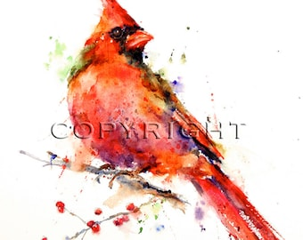 CARDINAL Watercolor Bird Art Print, Cardinal Painting, by Dean Crouser