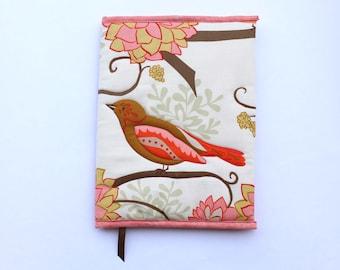 Bird, Fabric Art Journal, Refillable, Composition Book Cover, Peach, Brown, Journal