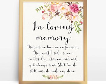 Instant Download Pink floral wedding sign In Loving Memory Printable Wedding Memorial Sign DIY 4x6 5x7 8x10 A4 - PF-18