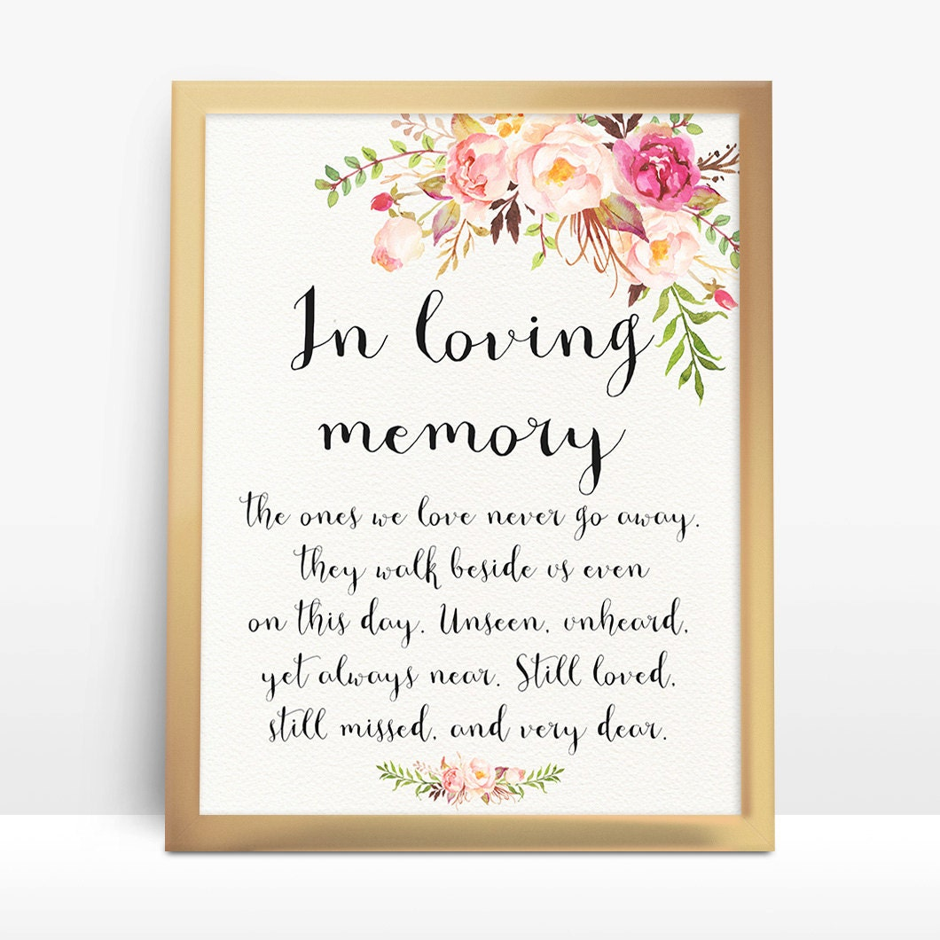instant download pink floral wedding sign in loving memory, Powerpoint templates