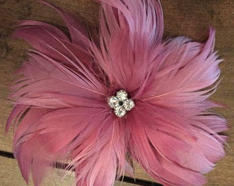 Rose Pink Feather Fascinator Hair Clip Accessory ...more colors available... Handmade in the USA