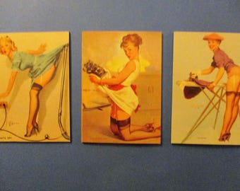 3-PINUP GIRL MAGNETS Gil Elvgren PinUp Girls Refrigerator Magnets Great Gift Idea Stocking Stuffers