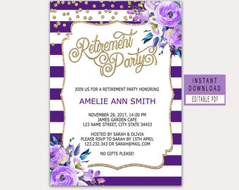 RETIREMENT INVITATION Instant Download, Purple Retirement Invitation For  Woman, Retirement Party Invitations Download Floral