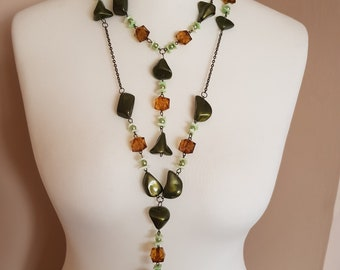 Long Green Bead Necklace