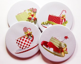 Coasters, Christmas Coasters, Christmas Decor, Hostess Gift, Set of Coasters, Stocking Stuffer, Red, Green (5246)
