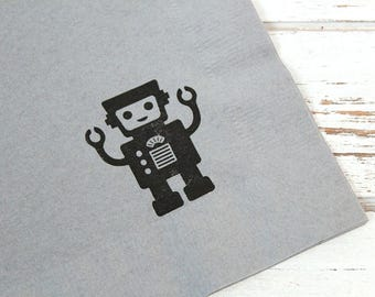 Robot Party Napkins - Set of 25 (5 different images) - 3 ply, 1/4 fold Luncheon napkins