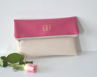 Monogrammed clutch purse, Foldover clutch, Bridesmaids gift, Wedding accessories, Personalized clutch bag