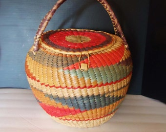 Large Handmade Basket Colorful Decorative Pot with lid and handle vintage one of a kind storage multipurpose