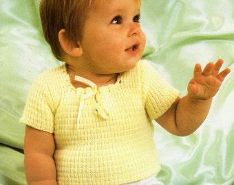 Vintage Knitted Baby/Infant Short Sleeve Jumper/Top Pattern.