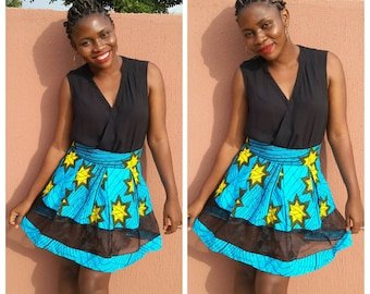 Blue African mini skirt , Ankara skirt, African print, African clothing for women, women clothing, African skirt